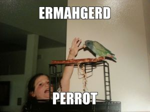 My ten-year-old meme-self with Pete the Parrot